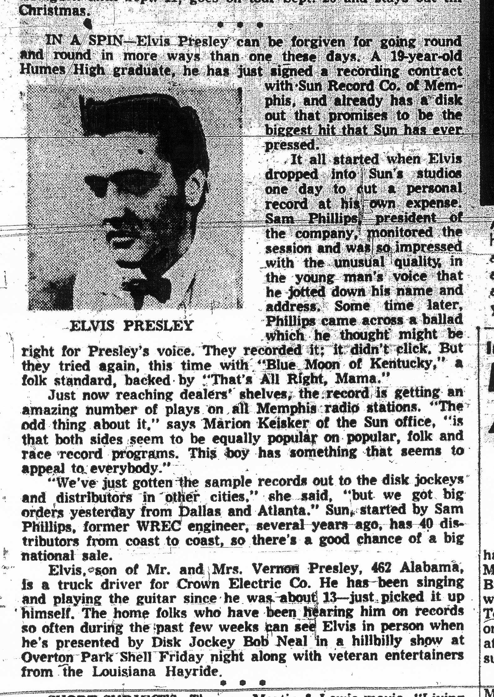 Elvis First Newspaper Article